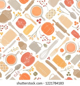 Seamless Vector Distressed Fall Baking Kitchen Utensil, Pumpkin, & Acorn Geometric Scatter Bright Autumn Colors. Great for seasonal, kitchen & home decor, fabric, wallpaper, invitations Thanksgiving.