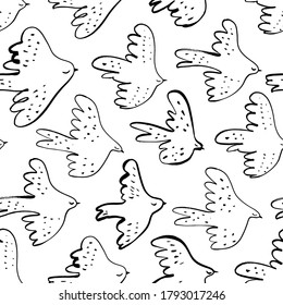 Seamless vector doodle pattern with black birds. Japanese abstract motif hand painted by brush. Monochrome flying birds, sparrows, swallows, crowns and seagulls. Line drawn sketch.