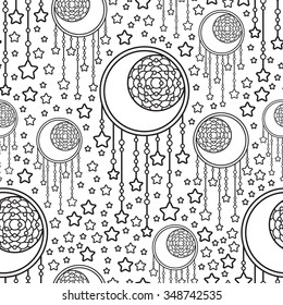 Seamless vector dream catcher pattern illustration. Line art illustration of crescent and stars.