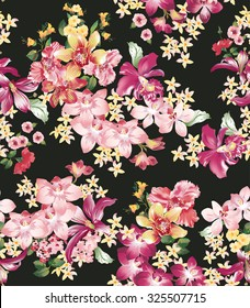 Seamless vector elegant floral pattern with orchids and lilies on a black background.