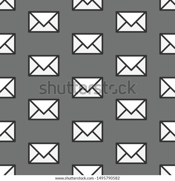 Seamless Vector Envelope Pattern Monochrome Repeat Stock ...
