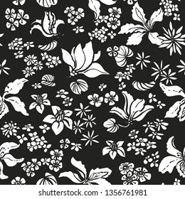 Seamless vector exotic floral pattern with white silhouettes of freehand sketched flowers. Loose drawing. All over crowded flowers  pattern. Black and white print. Bauhinia flowers