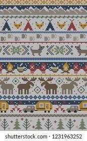 Seamless Vector Fair Isle Knit Happy Camper Winter Wonderland Woodland Animals in Brown, Red, Green. Great for fabric, textiles, home decor, apparel, holidays, wrapping paper, backgrounds, wallpaper.