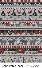 Seamless Vector Fair Isle Knit Happy Camper Winter Wonderland Woodland Animals in Gray, Red, Brown. Great for fabric, textiles, home decor, apparel, holidays, wrapping paper, backgrounds, wallpaper.