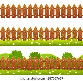 Seamless vector fence illustration, isolated on white background