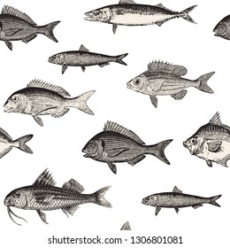 Seamless vector fish pattern