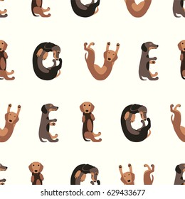"Seamless vector flat pattern - word ""love"" of dachshund dogs"