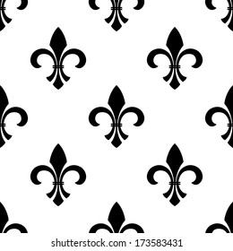 Seamless vector of a fleur-de-lys motif in a repeating pattern, in black and white.