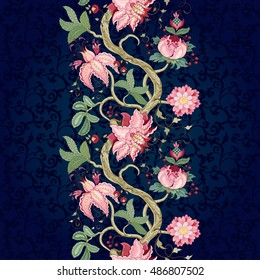Seamless vector floral background. Border with tree branches and fantastic flowers on dark backdrop. The motives of the paintings of ancient Indian fabrics. Tree of Life collection.