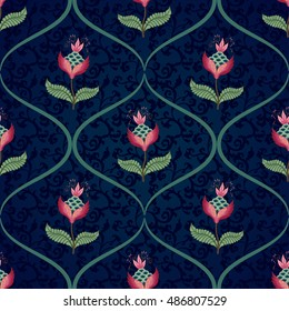 Seamless vector floral background. Curved grids and fantastic flowers. The motives of the paintings of ancient Indian fabrics. Tree of Life collection.