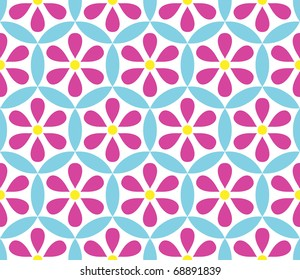 Seamless vector floral background with flowers over white