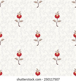 Seamless vector floral background. The motives of the paintings of ancient Indian fabrics. Tree of Life collection.