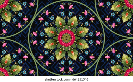 Seamless vector floral background with round patterns. Dark backdrop. Flower in style of Petrykivka painting.