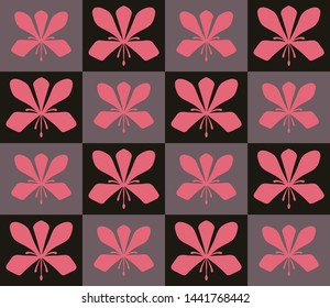 Seamless vector floral geometric pattern with abstract bauhinia flowers - national simbol of Hong Kong.