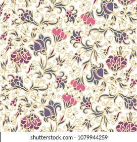 Seamless vector floral ornament,  turkish style on white background, kalamkari style