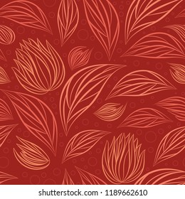 Seamless vector floral pattern with abstract outline flowers in monochrome red colors for fabric, textile, or wallpaper design