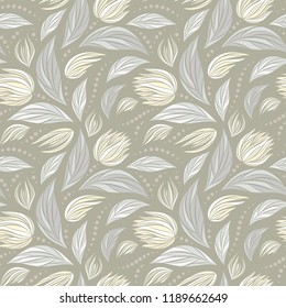 Seamless vector floral pattern with abstract flowers in pastel light beige colors for fabric, textile, or wallpaper design