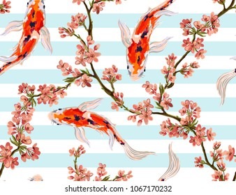 Seamless vector floral pattern background with hand drawn koi fish, tropical japanese flowers, branches