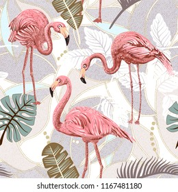 Seamless vector floral pattern background with flamingo and palm leaves. Seamless pattern with flamingos and tropical plants. Vector clipart.