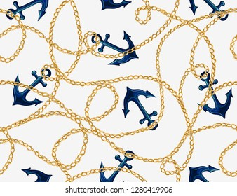 Seamless vector floral pattern background with hand drawn anchor, chain. Perfect for wallpapers, web page backgrounds, surface textures, textile. Isolated on white background