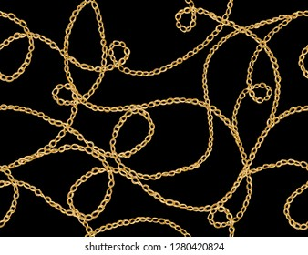 Seamless vector floral pattern background with hand drawn  chain. Perfect for wallpapers, web page backgrounds, surface textures, textile. Isolated on black  background