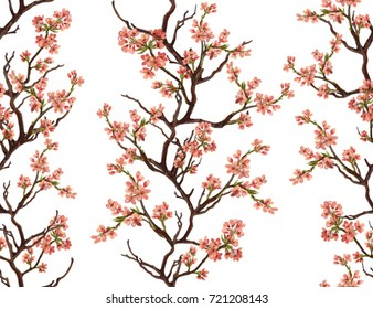 Seamless vector floral pattern background with hand drawn tropical japanese flowers. Perfect for wallpapers, web page backgrounds, surface textures, textile.