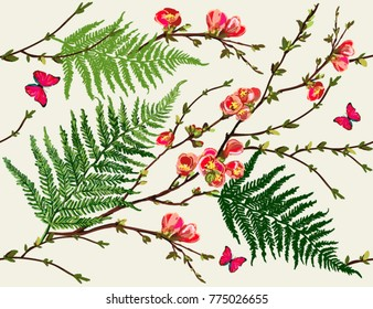 Seamless vector floral pattern background with hand drawn tropical japanese flowers, sakura,  butterflies, fern leaves. Perfect for wallpapers, web page backgrounds, surface textures, textile.