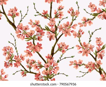 Seamless vector floral pattern background with hand drawn  tropical japanese flowers, spring branches, blossom cherry flowers. Perfect for wallpapers, web page backgrounds, surface textures, textile.