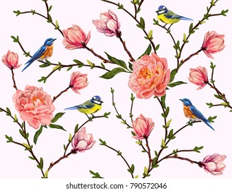Seamless vector floral pattern background with hand drawn birds, tropical japanese flowers, magnolia, peony flowers. Perfect for wallpapers, web page backgrounds, surface textures, textile.