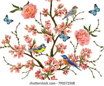 Seamless vector floral pattern background with hand drawn birds, butterflies,  tropical japanese flowers, branches, peony. Perfect for wallpapers, web page backgrounds, surface textures, textile.