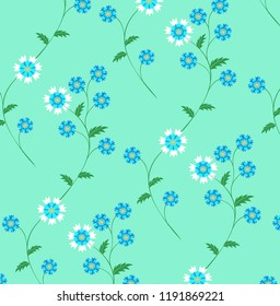 Seamless vector floral pattern with basketflower  flowers, cornflowers, loggerheads