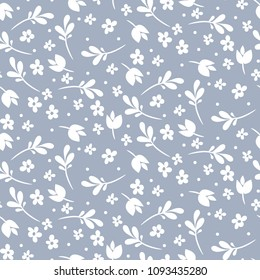 Seamless vector floral pattern. Blue and white monochrome design.