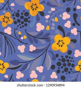 Seamless vector floral pattern. Botanical background