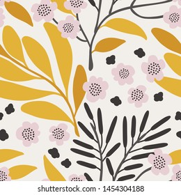 Seamless vector floral pattern. Botanical background