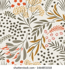 Seamless vector floral pattern. Delicate botanical background