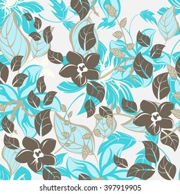 Seamless vector floral pattern. For easy making seamless pattern just drag all group into swatches bar, and use it for filling any contours
