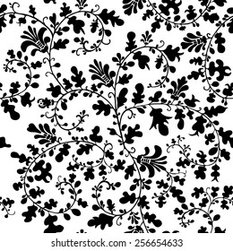 Seamless vector floral pattern with  fantasy plants and flowers, pattern can be used for wallpaper, pattern fills, web page background, surface textures