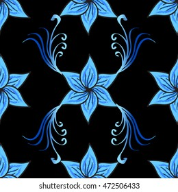 Seamless vector floral pattern with five-petal blue flowers on black background