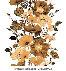 Seamless vector floral pattern golden flowers on a white background. Illustration of garden flowers roses, bluebells, daisies, primroses. Composition in the oriental style. Vintage.