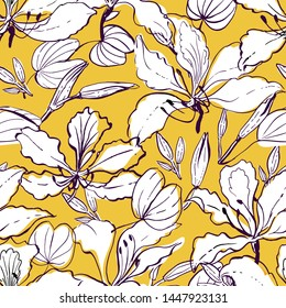 Seamless vector floral pattern hawaiian style with big white hand drawn orchid tree flowers, buds, leaves on yellow background.