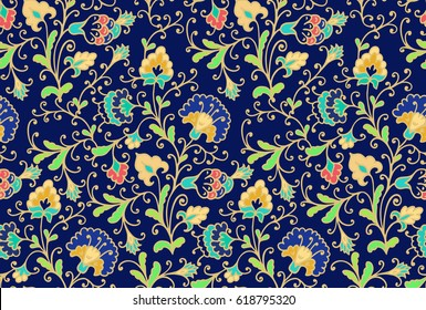 Seamless  vector floral pattern on blue backgorund, indian style