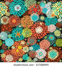 Seamless vector floral pattern with orange, yellow - green stylized chrysanthemum flowers on dark background