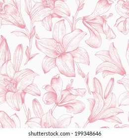 Seamless vector floral pattern. Pink royal lilies flowers on a white background.