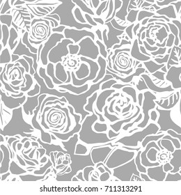 Seamless vector floral pattern with roses. Monochrome background.