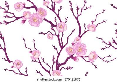 Seamless vector floral pattern. Sakura branch in Victorian style. Vintage luxury decoration. Series flower design in unique technique. Illustration Oriental cherry tree on white background.