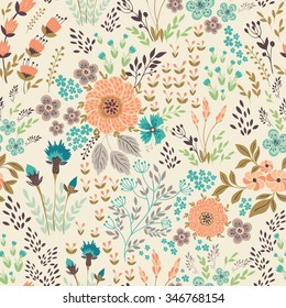 Seamless vector floral pattern, spring/summer backdrop. Hand drawn surface pattern design  with flowers in garden. Seamless texture can be used for wallpapers, pattern fills, surface textures.