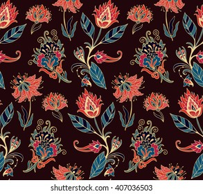 Seamless   vector  floral pattern with stylized daisy, lily, dahlia, tulip flowers, indian kalamkari style
