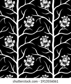 Seamless vector floral pattern with tree