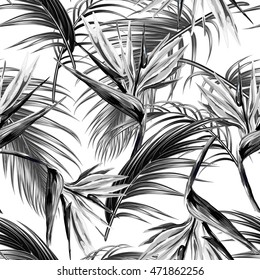 Seamless vector floral pattern with tropical flowers, leaves, bird of paradise flower. Jungle background, exotic botanical illustration, monochrome print for fashion