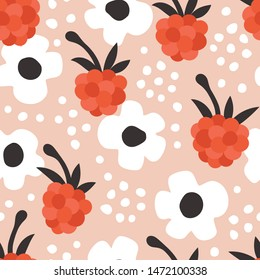 Seamless vector floral pattern. Vibrant botanical background